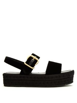 Double-strap velvet flatform sandals | Prada | MATCHESFASHION.COM UK
