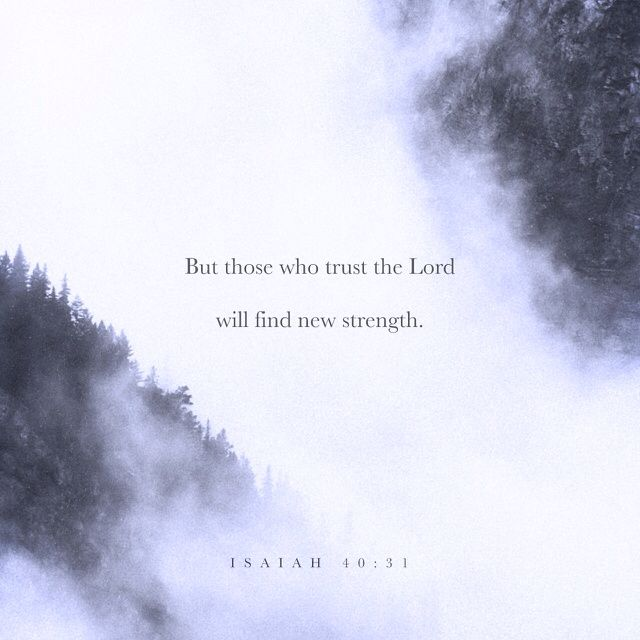 But those who trust in the LORD will find new strength. They will soar high on wings like eagles. They will run and not grow weary. They will walk and not faint. ‭‭Isaiah‬ ‭40:31‬‬
