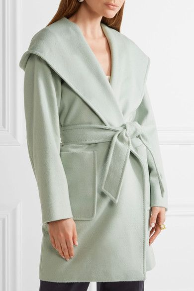 Max Mara - Hooded Camel Hair Coat - Mint