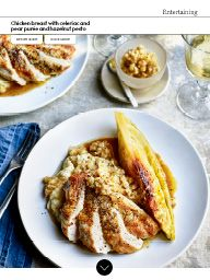 Waitrose Food March 2017: Chicken breast with celeriac and pear purée and hazelnut pesto
