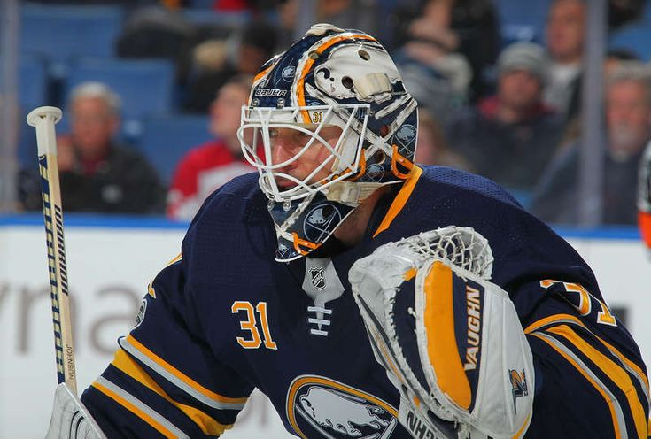 BUFFALO, NY - DECEMBER 15: Chad Johnson #31 of the Buffalo Sabres eyes the action during the second period of an NHL game against the Carolina Hurricanes on December 15, 2017 at KeyBank Center in Buffalo, New York. (Photo by Bill Wippert/NHLI via Getty Images)
