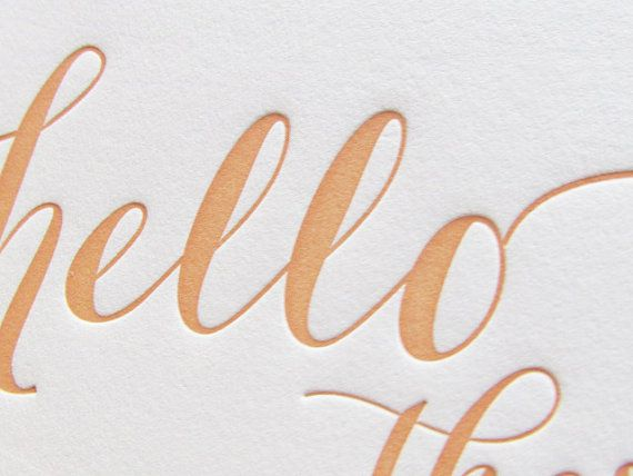 Letterpress Hello There Greeting Card in Peach