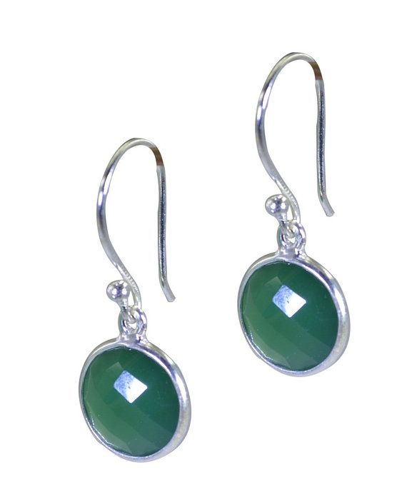 Green 925 sterling silver Green Oynx Earring chocolate-box jewelry supply store by RiyoGems