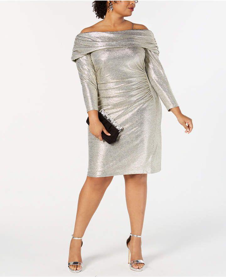 30c7423d7b9 Betsy   Adam Plus Size Metallic Off-The-Shoulder Sheath Dress - Gold ...