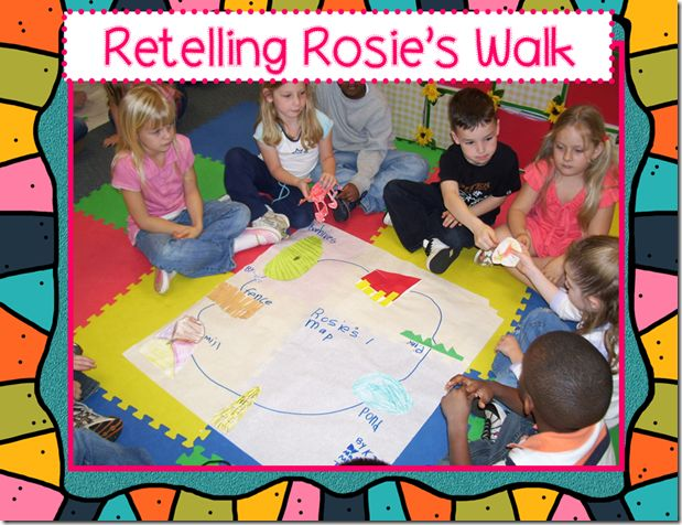 Retelling Rosie's Walk using art and, sequencing, and retelling using paper characters.