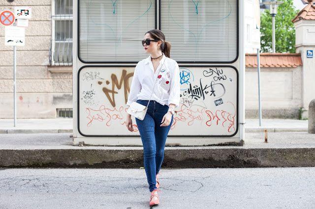 patches blouse, fashion blogger outfit inspiration, fashion blogger outfit, streetstyle outfits, furla metropolis, fashion photography, auqazurra christi flats