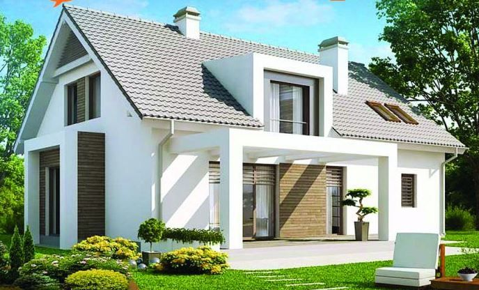 Plano de casa moderna de 2 pisos con techo de tejas y 3 dormitorios