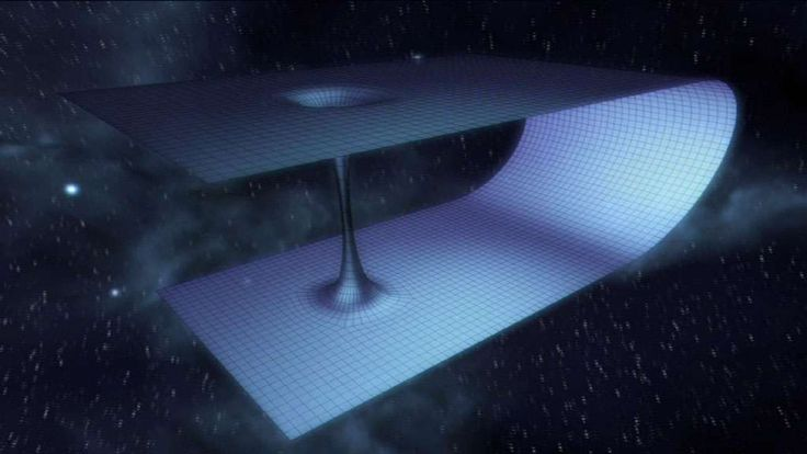 Le trou de ver serait comme le tunnel d'une feuille de papier (ici l'espace-temps) que l'on aurait pliée. Un trou appelé trou noir d'un coté serait l'entrée et un trou de l'autre côté appelé trou blanc la sortie. Voyager dans le temps par là ?