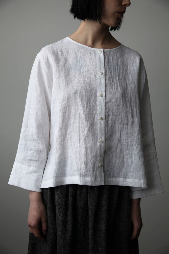 White Linen Blouse Uk 110