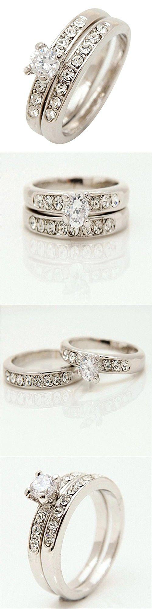 Followmoon Platinum Plated Use Cubic Zirconia Crystal Engagement Wedding  Ring Set For Women