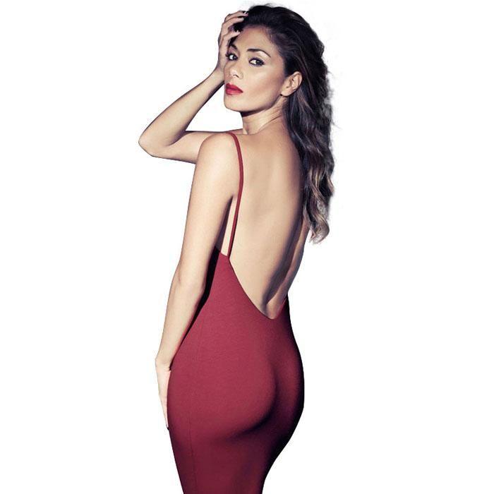 Envío Gratis Sexy Mujeres Apretadas Nalgas Sin Espalda De La Falda Vestido De Fiesta Con Tirantes Lápiz Bodycon Del