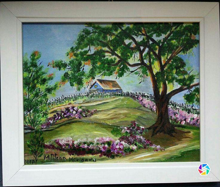 Peisaj(30€) Tablou pictat pe panza Dimensiuni 35/30cm Disponibil