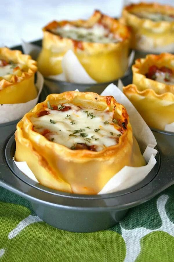 Lasagna Cups....the recipe that put my blog on the map :)  Get the recipe here: http://www.laurenslatest.com/lasagna-cups/