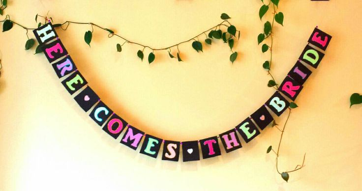 Here Comes The Bride Banner, Bridal Shower Banner, Paper Banner, Bridal Shower Decorations, Wedding Shower, Bridal Shower, Banner, Engaged by BootsAndDirtRoads on Etsy