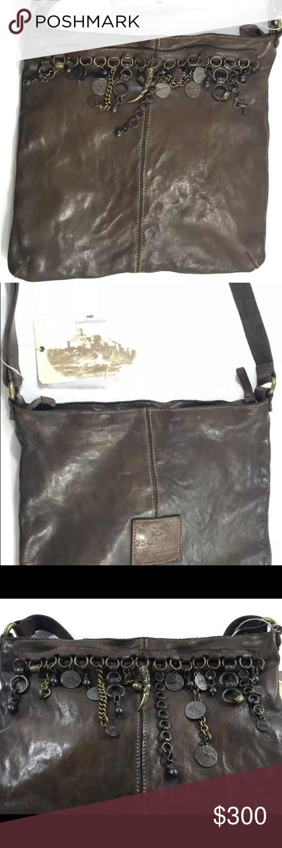 """CAMPOMAGGI Monospalla C/ Pendagil Vacchetta Tapo C3124 VL. Monospalla C/ Pendagil Vacchetta Tapo Grigio 2002. Tg. Unica. With tag. Ash gray  leather in color. Mint condition use only ones. Adjustable strap of 15""""-25"""". 100% authentic. Unique in design. Top zip closure. Zippered pocket inside with cellphone slip pocket and a key holder. No dust bag. Made in Italy. campomaggi Bags Crossbody Bags"""