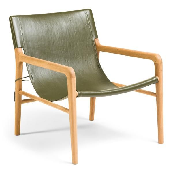 Smith Canvas Back Olive In 2020 Leather Sling Chair Leather Chair Leather Armchair