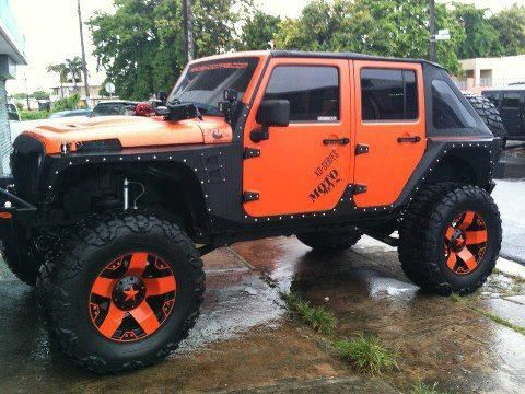 orange and black jeep unlimited