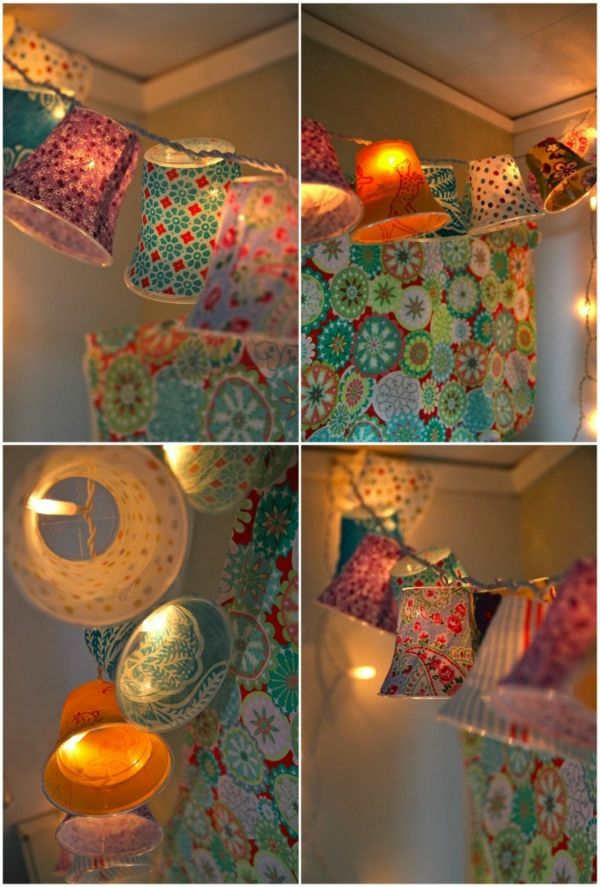 selber gemachte hängende lampen - wie bunte glocken erscheinen - Lampe selber machen – 30 einmalige Ideen