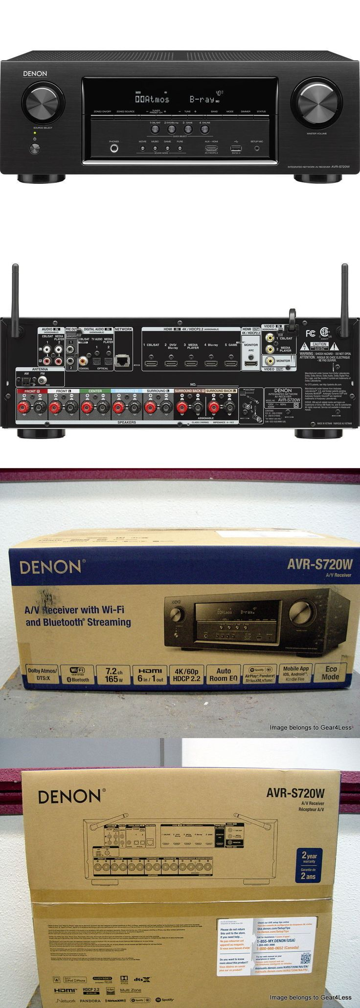 Home Theater Receivers: Denon Avr-S720w 7.2 Home Theater A V Receiver Amp Dolby Atmos Wifi Bluetooth New -> BUY IT NOW ONLY: $327.95 on eBay!