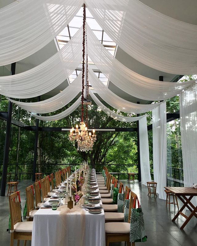 We are here at the newly opened The Glass House by Tirtha Bridal. decor for just in case we need tent for rain