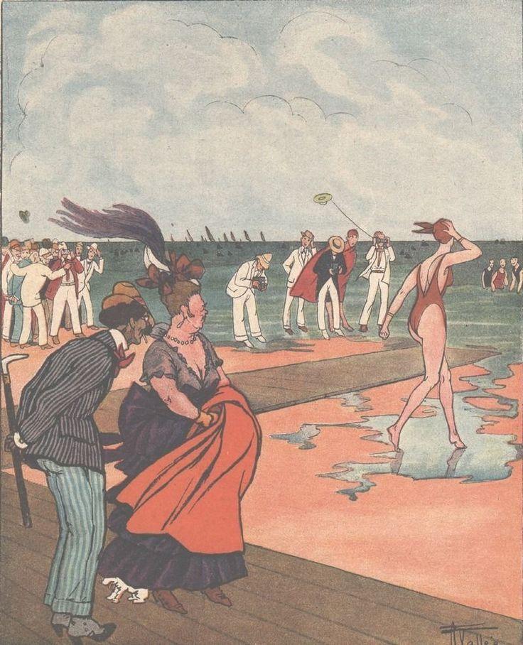 Les Plaisirs de la Plage - - Bain Femme  - Dessin Vallée - Gravure Ancienne 1919
