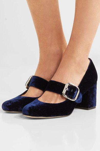 Sam Edelman - Chessie Velvet Mary Jane Pumps - Midnight blue