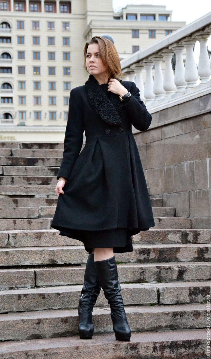 Купить Осеннее пальто с воротником из каракуля - пальто, женское пальто, женская мода, пальто женское