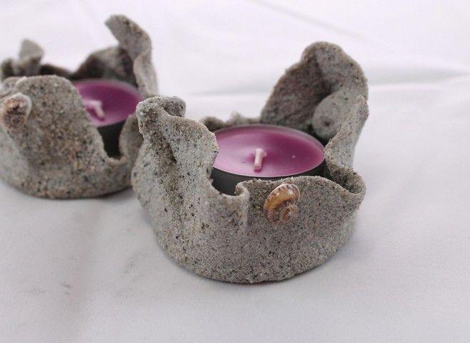 2 Porta candele artigianali di sabbia