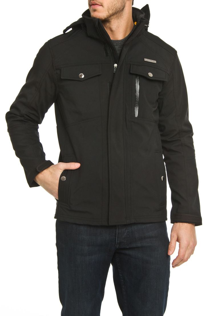 Marshall Soft Shell Jacket In Black Features Front Zip