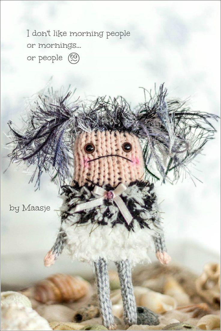 Knitted grumpy doll by Maasje www.facebook.com/maasjecustoms www.etsy.com/shop/maasje