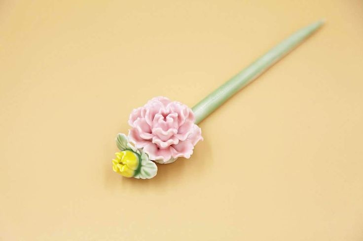 Ceramic Jewelry-hair Pin, Pink Blossom