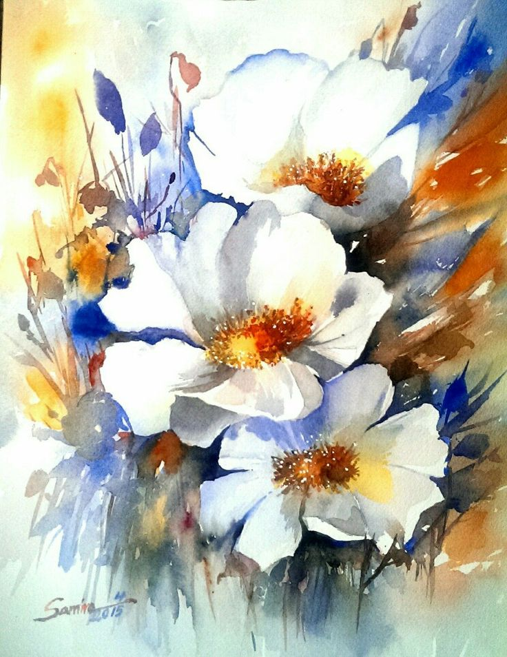 Yasmin flower watercolor,by Sami
