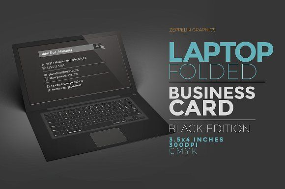 Laptop Business Card Black Edition by Zeppelin Graphics on @creativemarket
