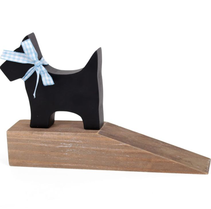 Painted Scottie Driftwood Dog Door Stop with blue ribbon as a collar
