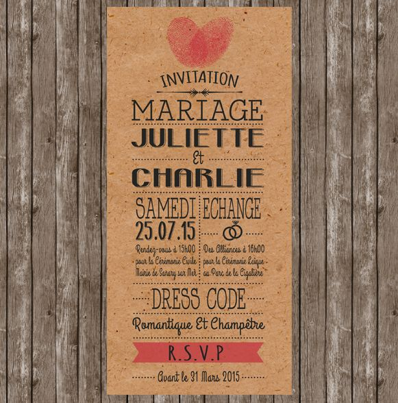 faire-part mariage vintage kraft avec empreinte coeur