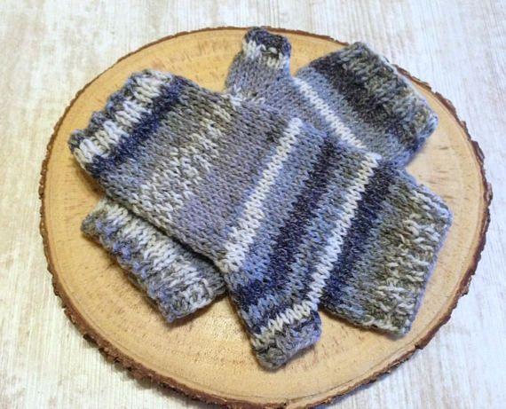 Grey Mittens Fingerless Female Knit Gloves Winter Hand