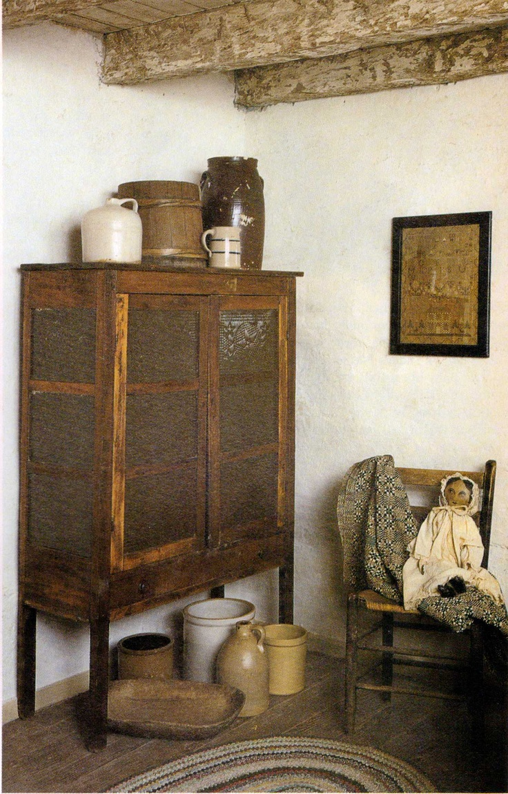 Old Pie Safe, crocks, chair and doll - Great Prim Display!