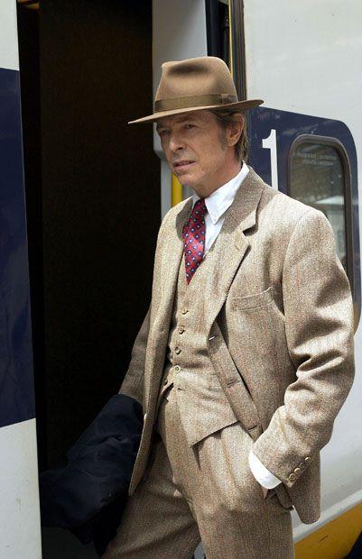 June 2002: David Bowie boards a Eurostar train at London Waterloo
