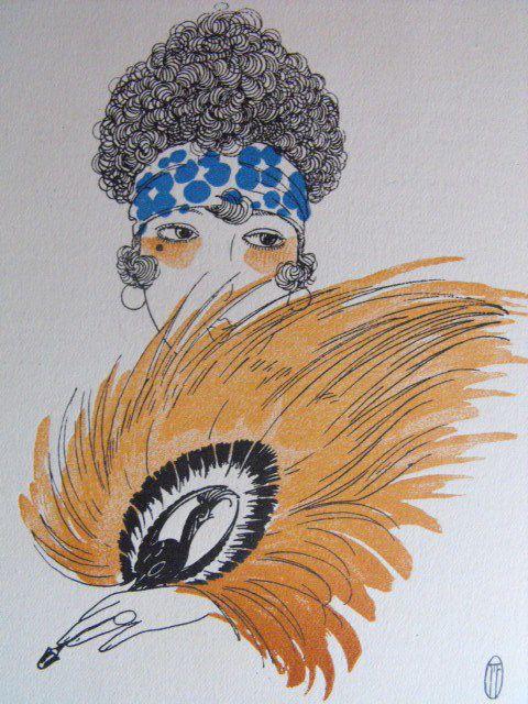 Emile Ltd. Coiffure Paris et Londres. Fashion Pochoir art-déco Marcel Fromenti