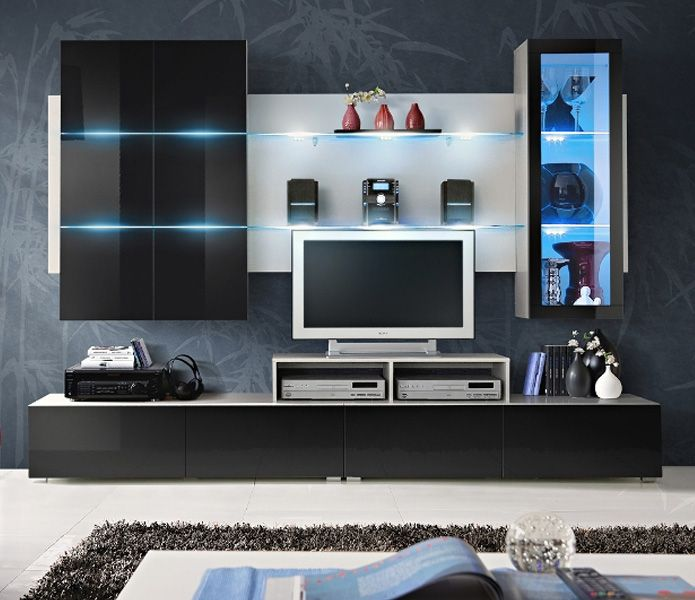 Wall units  Dimensions: Height - 190 cm Width - 260 cm Depth - 45 cm  Height / Width / Depth 2 tv low boards: 30 / 130 / 45 cm Wall cupboard: 120/80/29 cm Wall display cupboard: 120/40/29 cm Wall panel: 80/120/20 cm DVD/satellite harbour: 17/100/35 cm  Material: high gloss MDF High gloss fronts Set includes blue LED lighting PVC handles length 25cm