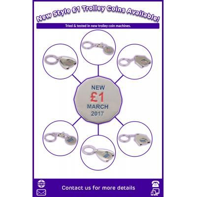 Image of Full Colour Printed New £1 Trolley Coin, Wishbone, House, Shapes Available