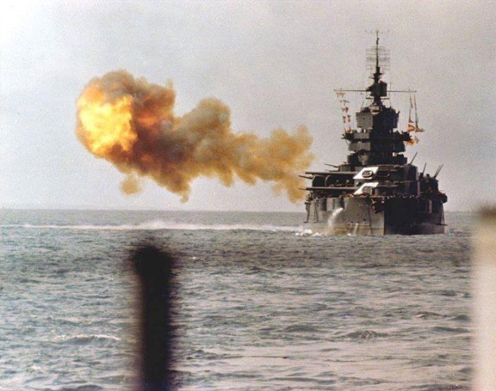 The battleship USS Idaho shells Okinawa on 1 April 1945