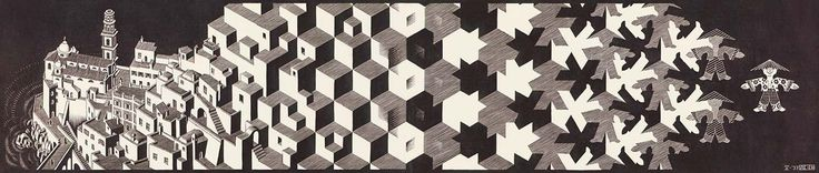 M.C. Escher. Metamorphosis I 1937 Woodcut printed on 2 sheets. 908mm x 195mm.