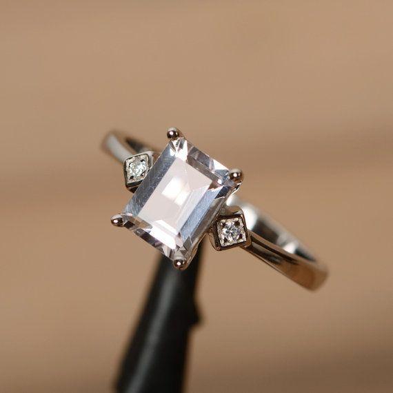 Anillo de Morganita rosa Esmeralda corte anillo de por godjewelry