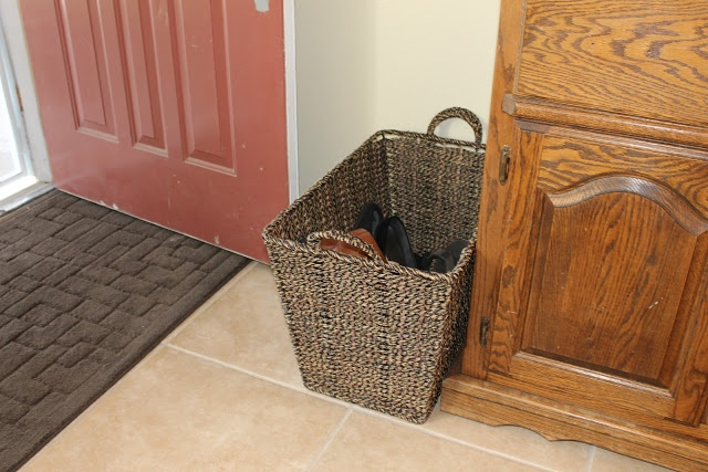 shoe basket at the front door for the home pinterest the o 39 jays stairs and shoes. Black Bedroom Furniture Sets. Home Design Ideas