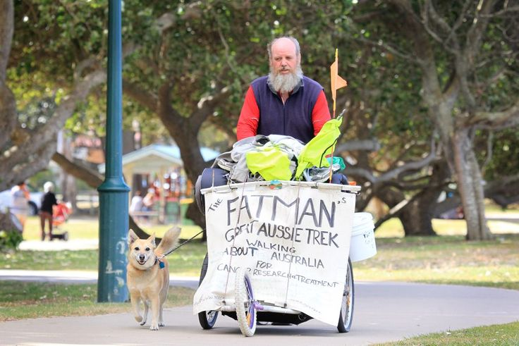 Brendon Alsop and his dog Jojo are walking about australia raising money for cancer research and treatment.  #inspiration