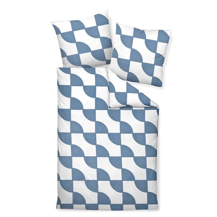 Janine Mako-Satin Bettwäsche J.D. 87019-02 denimblau in seidig weicher Baumwolle. Durch den edlen Schimmer kommt das geometrische Muster toll zur Geltung. Die weichen Bettwaren verwöhnen mit einem besonders weichen Griff. #bettwäsche #bedding geometric #modernbedding #modern www.bettwaren-shop.de