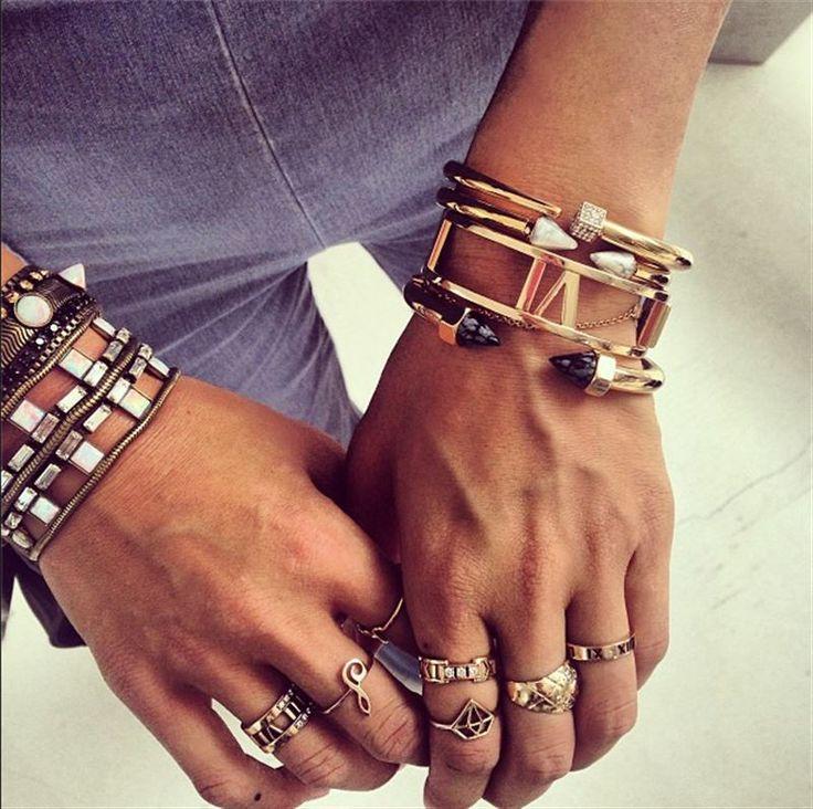 stacked rings & bracelets
