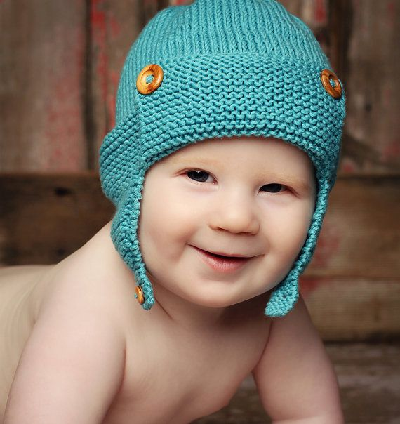 Baby Aviator Hat Knitting Pattern WRIGHT FLYER by LoveFibres, $4.00