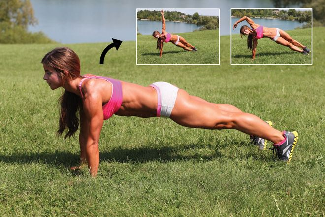 Jen Jewell demonstrates the side plank - a waist-whittling move you can do at home! We show you how.